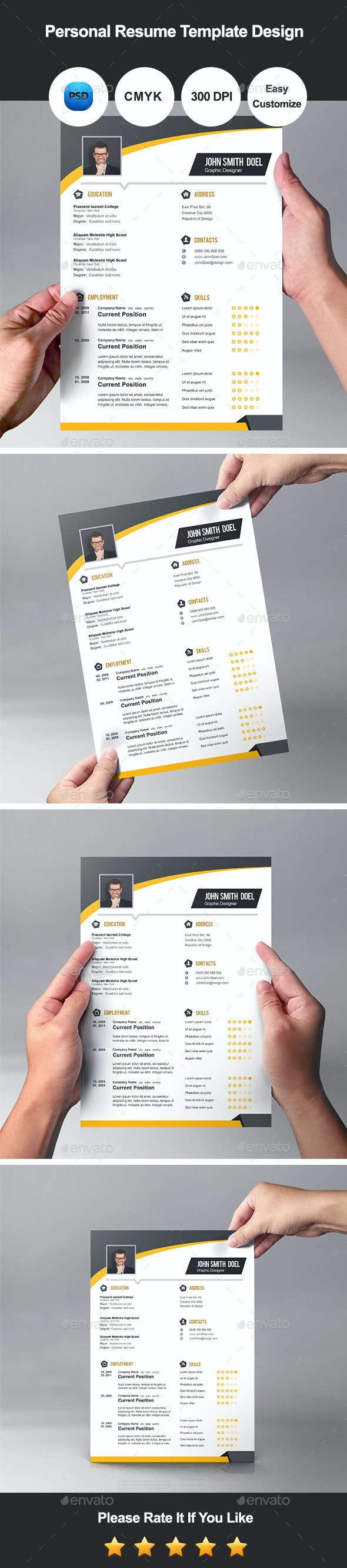 Personal Resume Template Design - Resumes Stationery
