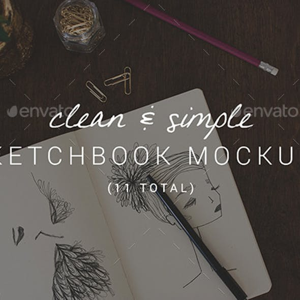 11 Clean & Simple Sketchbook Mockups