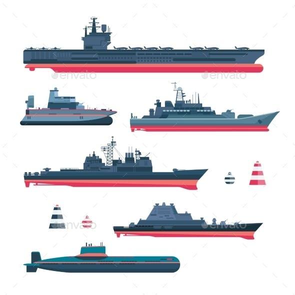 Militaristic Ships Icons