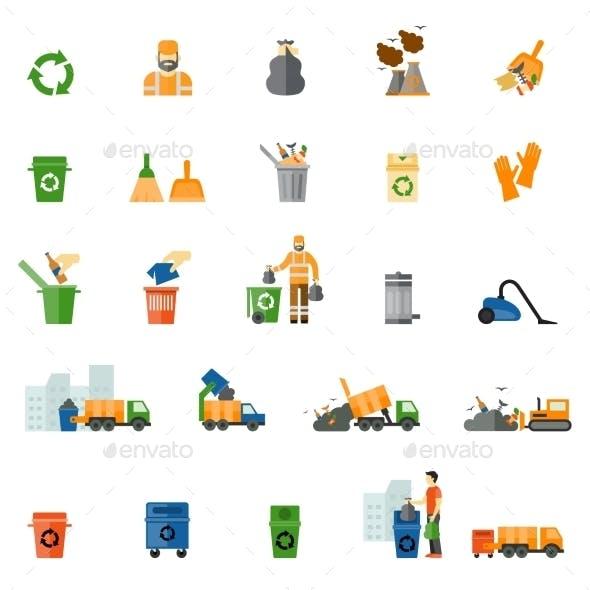 Garbage And Trash Flat Icons Set