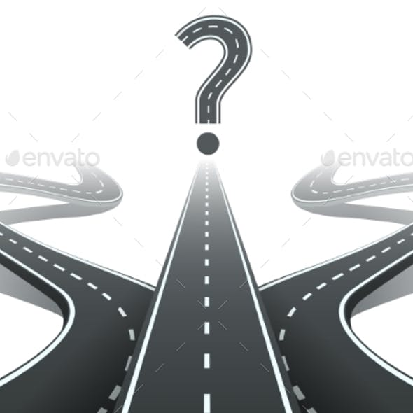 Three Roads And Question Mark. Choosing The Right