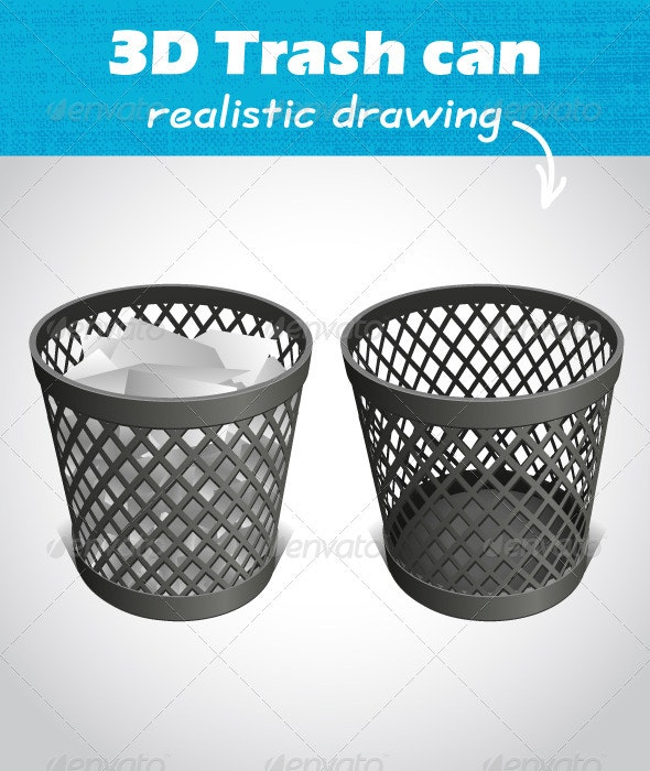 Wastepaper Trash Can - Man-made Objects Objects