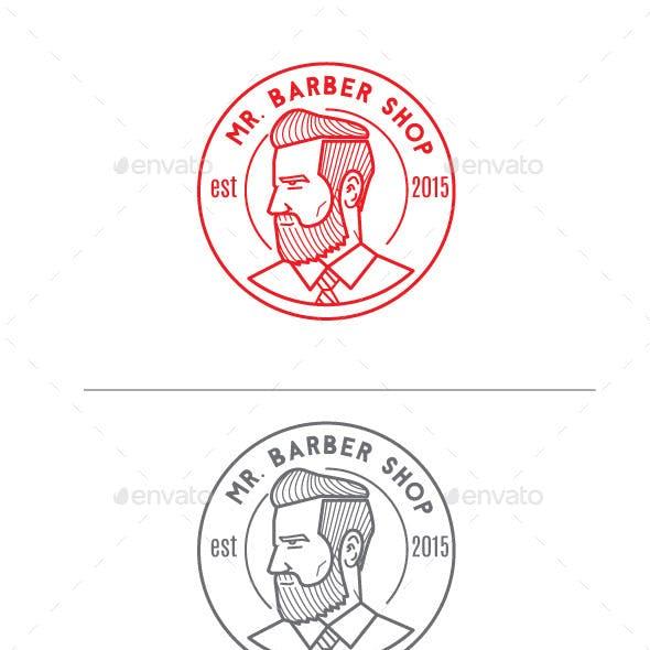 Mr Barber Shop Logo Mascot