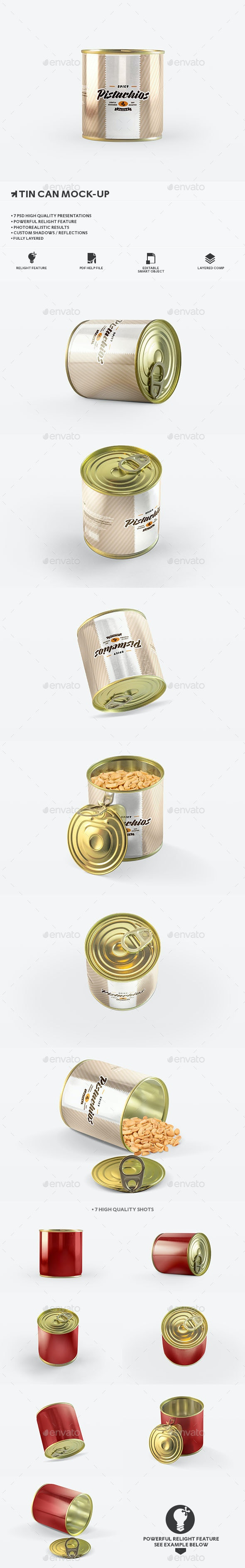 Package Tin Can Mockup - Food and Drink Packaging