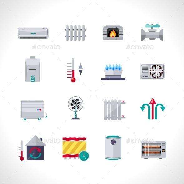 Heating Icons Set