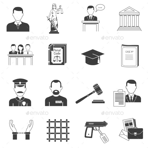 Justice Black Icons Set