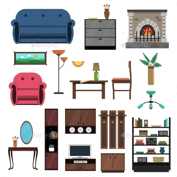 Interior Icons Flat Set - Man-made Objects Objects