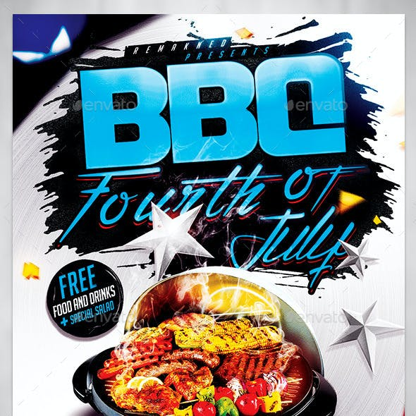 BBQ 4th July | Flyer Template PSD