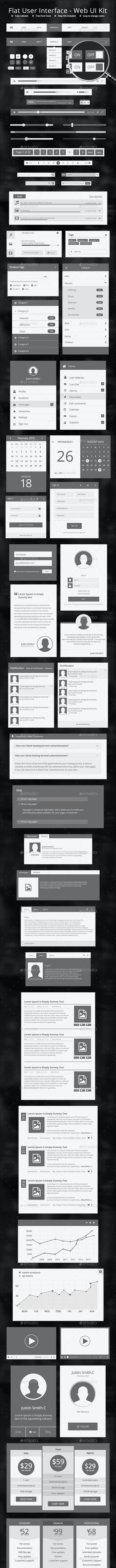Flat User Interface - Web UI Kit - UPDATED - User Interfaces Web Elements