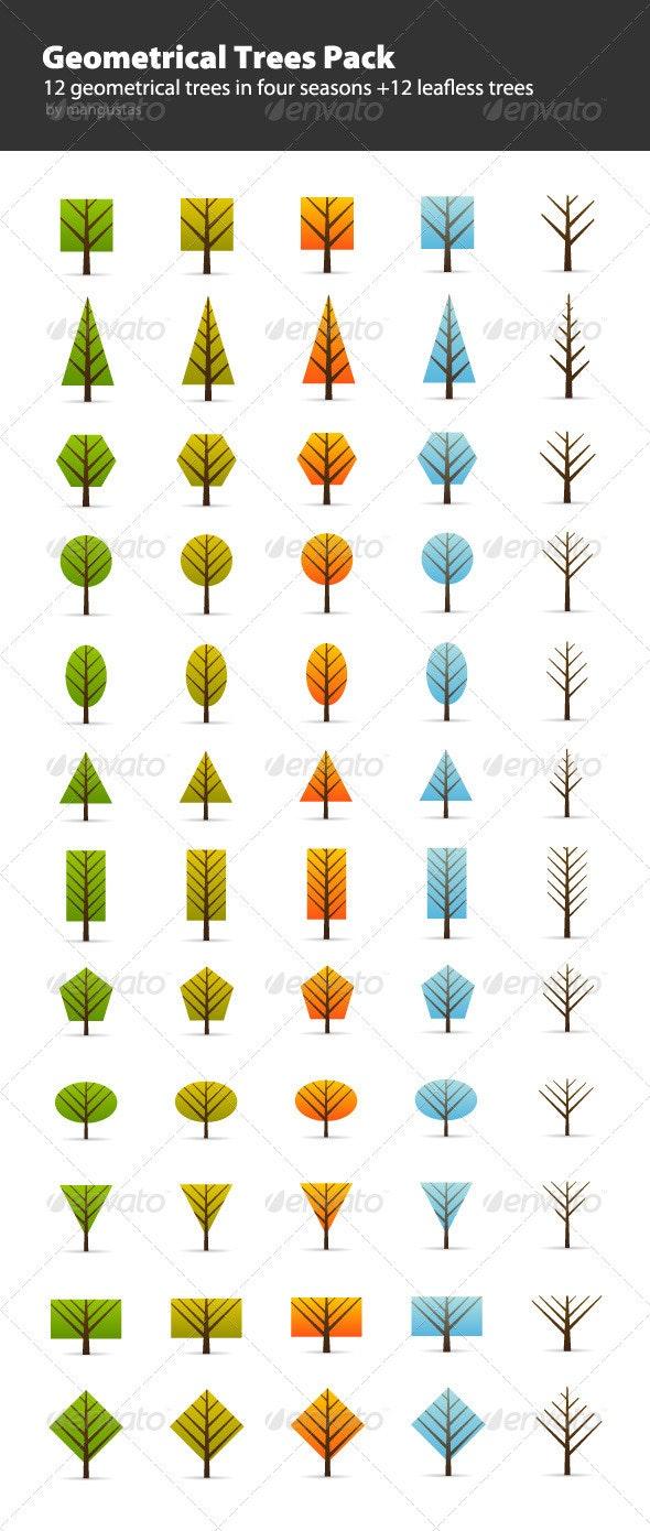 Geometrical Trees Pack - Flowers & Plants Nature