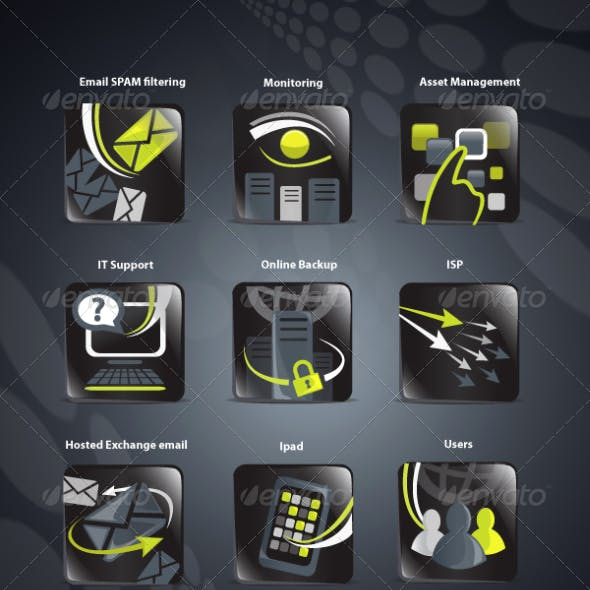 Lime and black IT icons
