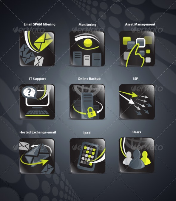 Lime and black IT icons - Web Icons
