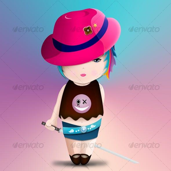 Cute samurai little girl
