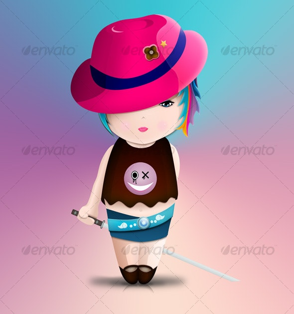Cute samurai little girl - Characters Illustrations