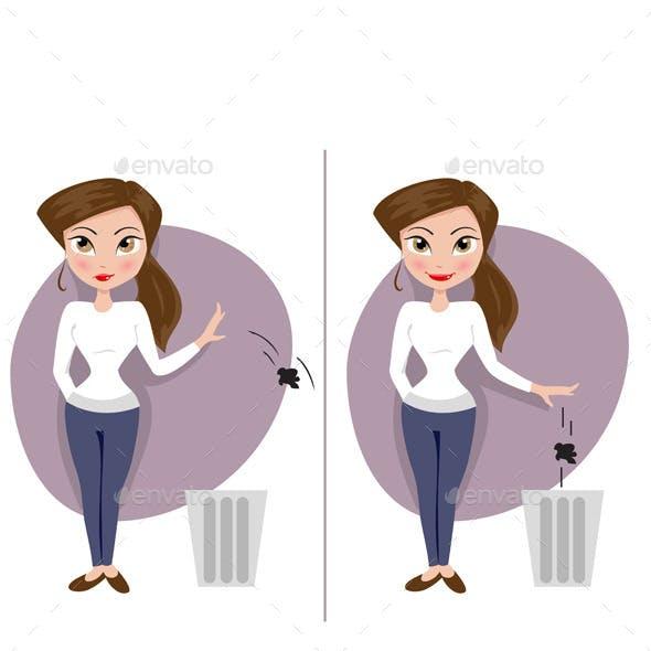Two Girls Throw Garbage