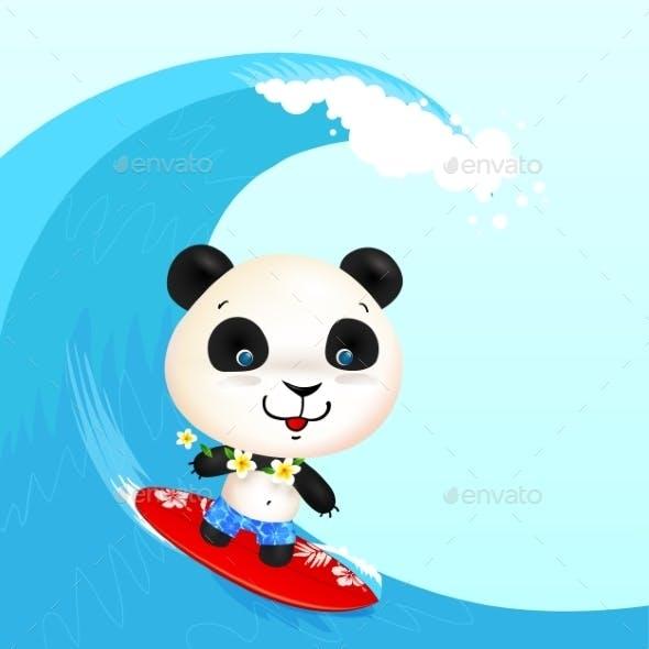 Little Cute Surfer Panda Surfing In Blowing Wave