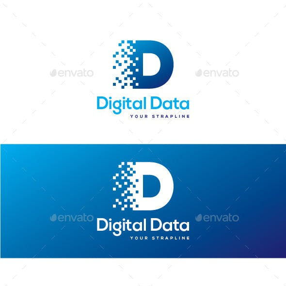 Digital Data Letter D Logo
