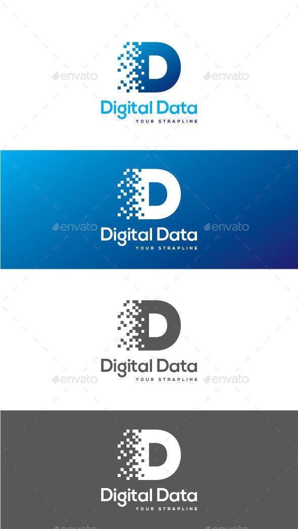 Digital Data Letter D Logo - Letters Logo Templates