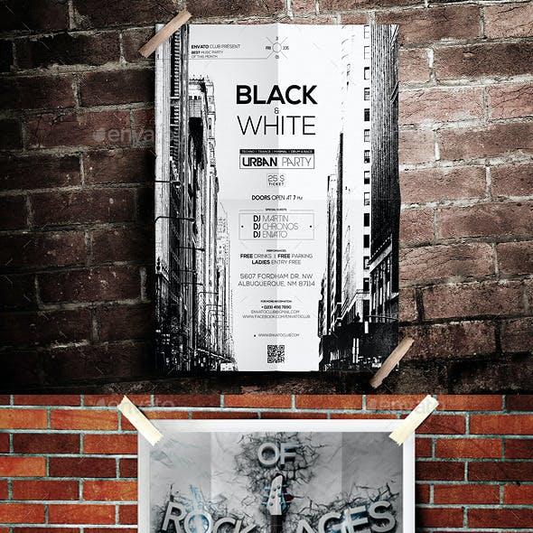 5 Grunge Poster Mockups