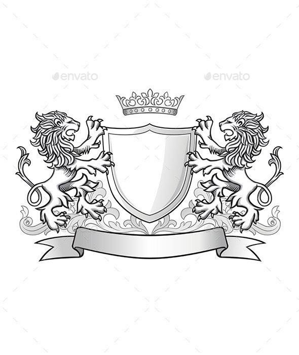 Lions Holding Shield Emblem - Miscellaneous Vectors