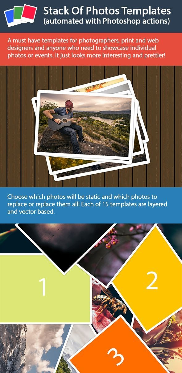 Stack Of Photos Templates - Actions Photoshop
