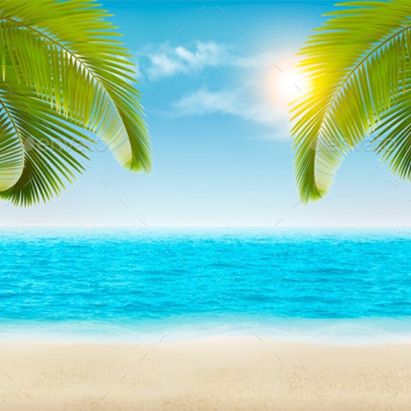 Vacation Background Beach With Palm Trees