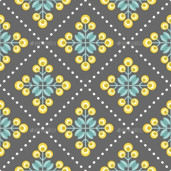 Retro Floral Pattern, Geometric Seamless Flowers - Patterns Decorative
