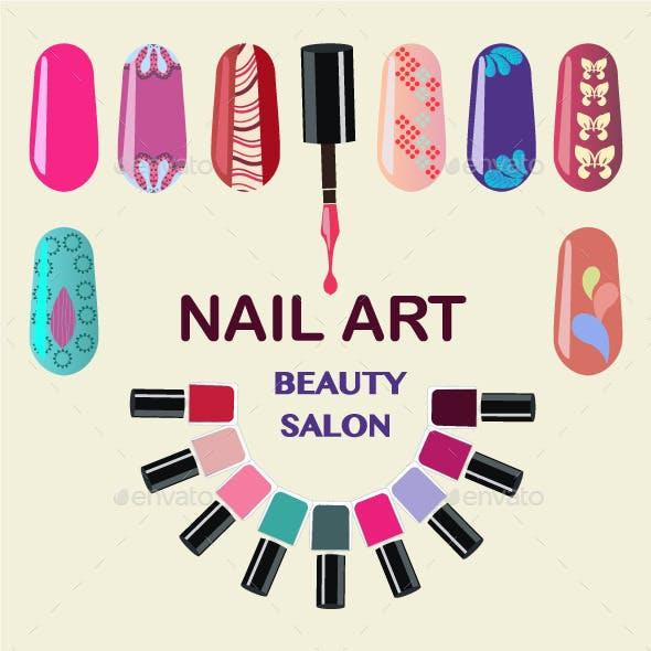 Nails Art Beauty Salon background - Illustration.