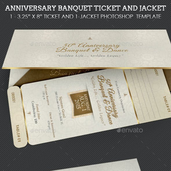 Anniversary Banquet Ticket Plus Jacket Template
