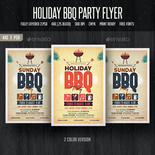 Holiday BBQ Party Flyer