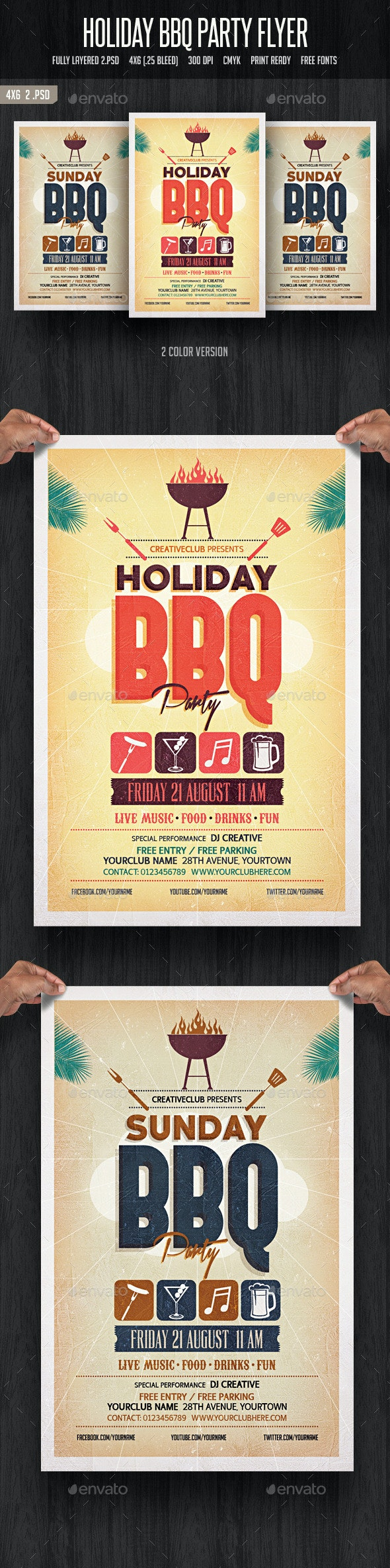 Holiday BBQ Party Flyer - Clubs & Parties Events