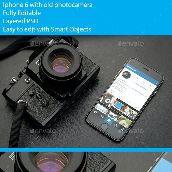 Photorealistic phone 6 mockup with old photocamera