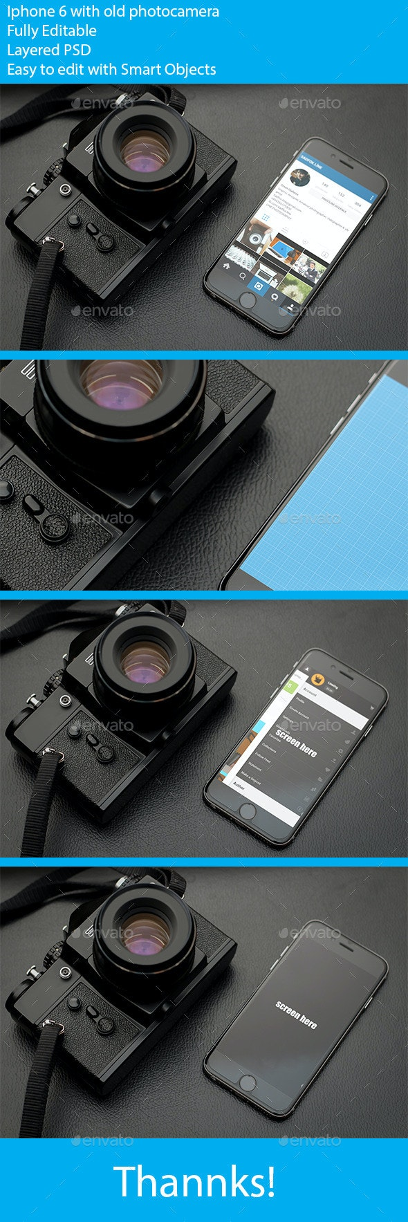 Photorealistic phone 6 mockup with old photocamera - Mobile Displays