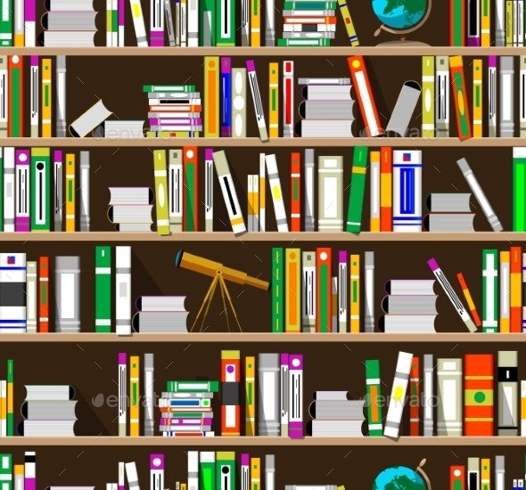 Cartoon Bookshelves in the Library - Backgrounds Decorative