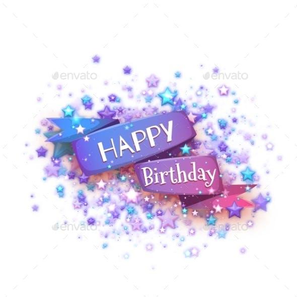 Blue Ribbon with Happy Birthday