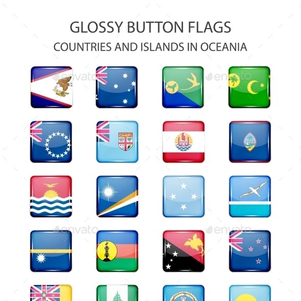Glossy Button Flags - Oceania