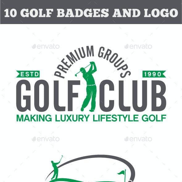 10 Golf Badges-Stickers & Logos