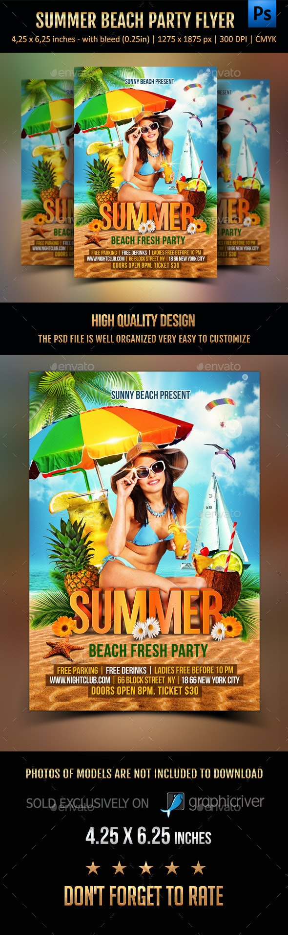 Summer Beach Party Flyer - Holidays Events