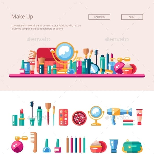 Set Of Flat Design Cosmetics, Make Up Icons