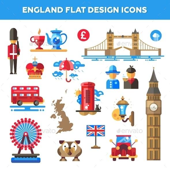 Set Of Flat Design England Travel Icons