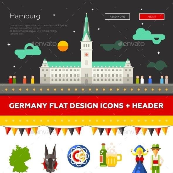 Set Of Flat Design Germany Travel Icons