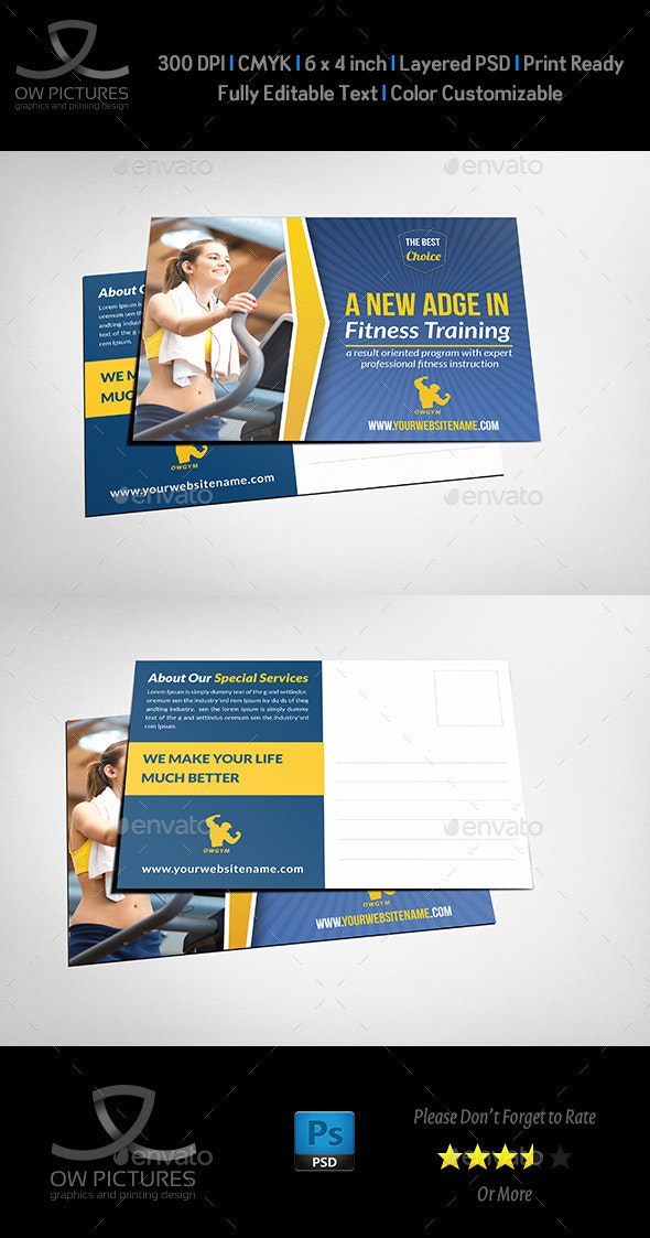 Fitness GYM Postcard Template - Cards & Invites Print Templates