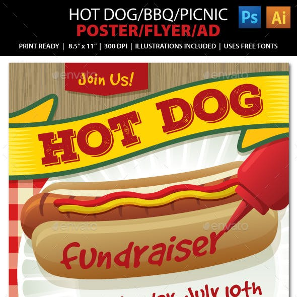 Hot Dog / BBQ / Picnic Event Poster, Flyer or Ad