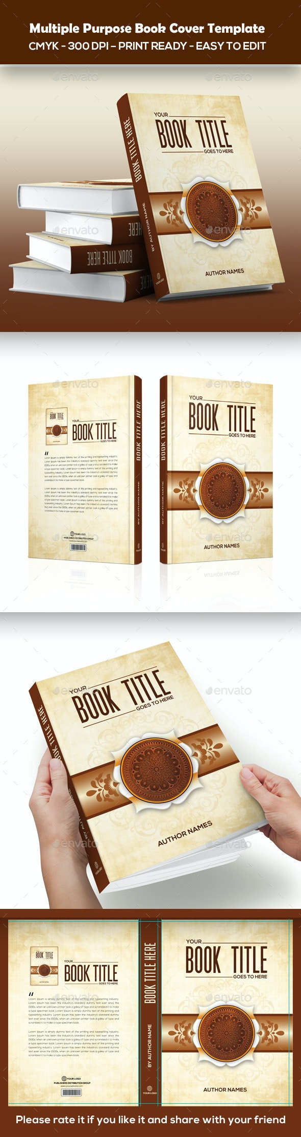 Multiple Purpose Book Cover Template - Miscellaneous Print Templates
