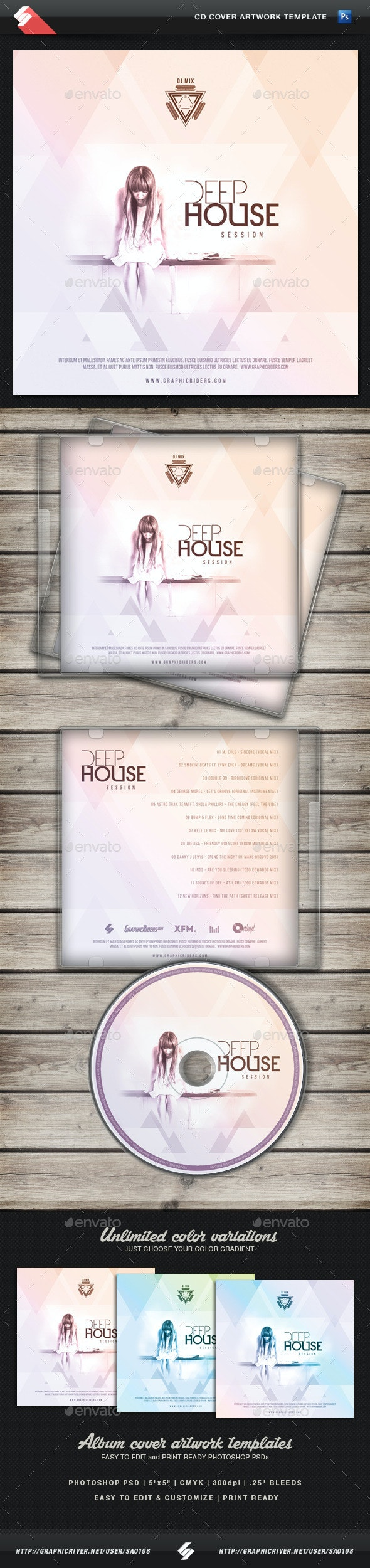 Deep House Session - CD Cover Template - CD & DVD Artwork Print Templates