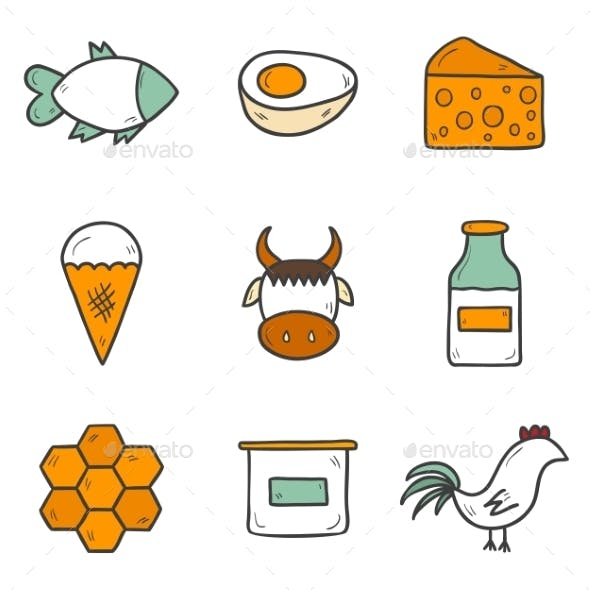 Set Of Cute Hand Drawn Icons With Products