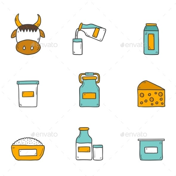 Set Of Cute Hand Drawn Flat Icons With Products