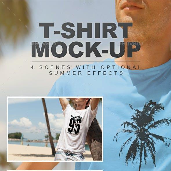 Summer Male T-shirt Mock-up