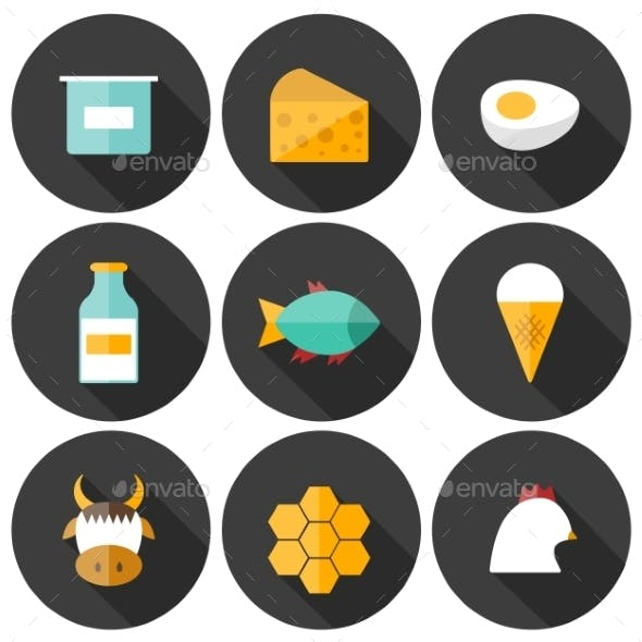 Set Of Modern Flat Shadow Icons With Products