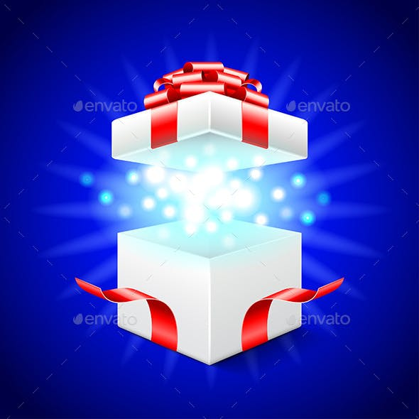 Opened Gift Box on Blue Vector Background